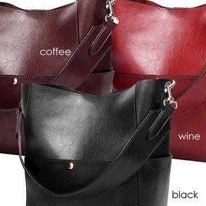 The Shoe Loft Bags - Hobo Style Bucket Bag Set w/ Handle & Strap